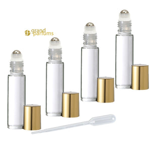 48 CLEAR 10mL DELUXE Swirled Rollerball Bottles Metal Steel Rollers  Gold or Silver Metallic Caps 1/3 Oz Roll-Ons Essential Oil Perfume