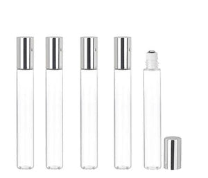 144 LUXURY Long Slim 15ml Clear Glass Roll-on, Roller Perfume Bottles STAINLESS STEEL Ball Fitment, 1/2 Oz Essential Oil, Lip Gloss, 15 ml