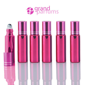 5 UPSCALE PINK 10ml Glass Essential Oil Glass Roll On Bottles Stainless Steel Roller (1/3 Oz) Fabulous Metallic Colors UV Coating  10 ml