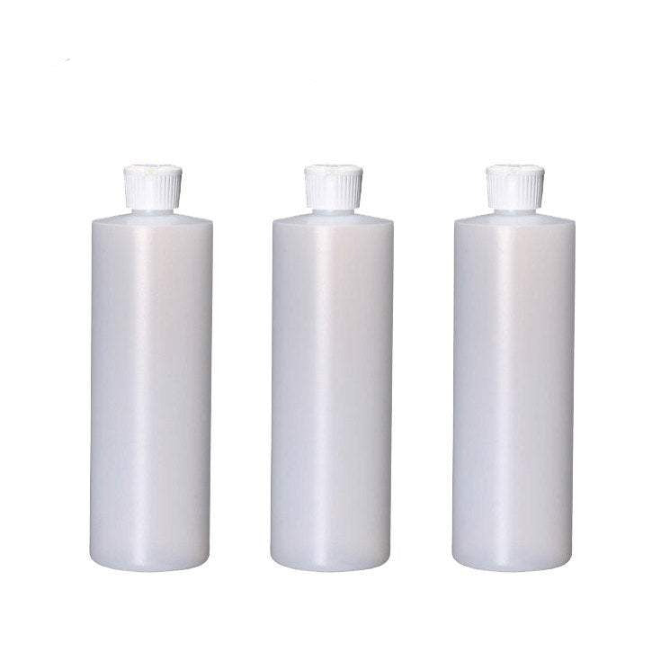12 Sets 4 Oz Natural HDPE Cylinders Round Plastic Bottles w/ White Turret Squeeze Bottle Dispensing Spout Pour Caps - bulk pricing BPA Free