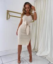 Ribbed Tie Midi Dress (Cream)