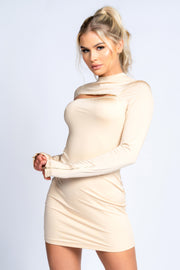 CARAMELLA UNZIPPED Mini Dress (CREAM)