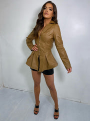 STELLA Peplum Faux Leather Blazer (CAMEL)