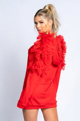 PIXIE Tulle Hoodie Dress (Red)