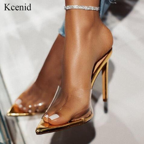 Transparent high heels gold
