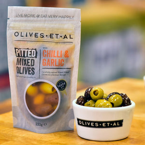 Chilli & Garlic Pitted Mixed Olives - Vindinista