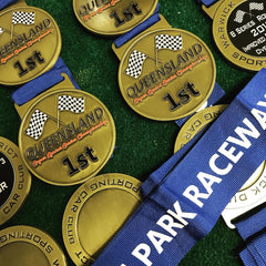 bespoke medals designed and producted for Morgan Raceway, Warwick and district car club by Gold Coast Trophies, Burleigh