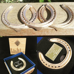 Custom made 24 kt Gold Horse Shoes - designed and produced by Gold Coast Trophies for Gold Coast Turf Club, Aquis Park