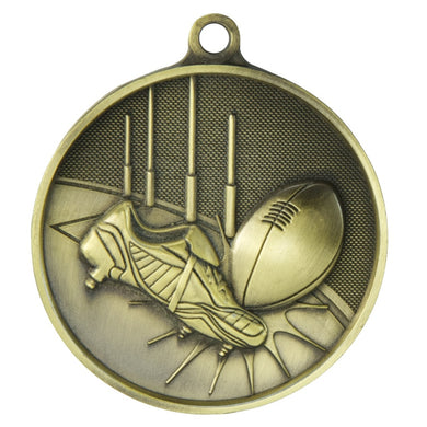 1050-3G Gold AFL / Aussie Rules Supreme Quality Medal - 70mm Dia Featuring AFL Ball & Boots  70mm Diameter, engraving plate on the back 33m x 55mm, Ribbon included.  Gold Coast Trophies Burleigh