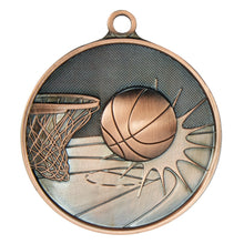 Load image into Gallery viewer, 1050-7BR Basketball Supreme Quality Medal - 70mm Diameter Featuring a Basketball Hoop & Ball 70mm Diameter, Ribbon & Engraving plate on the back 33m x 55mm included