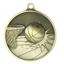 Load image into Gallery viewer, 1050-7G Basketball Supreme Quality Medal - 70mm Diameter Featuring a Basketball Hoop & Ball  70mm Diameter, Ribbon & Engraving plate on the back 33m x 55mm included