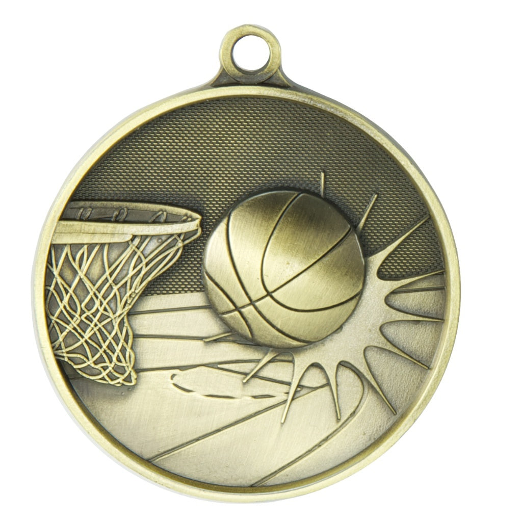 1050-7G Basketball Supreme Quality Medal - 70mm Diameter Featuring a Basketball Hoop & Ball  70mm Diameter, Ribbon & Engraving plate on the back 33m x 55mm included