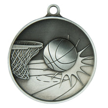 Load image into Gallery viewer, 1050-7S Basketball Supreme Quality Medal - 70mm Diameter Featuring a Basketball Hoop & Ball 70mm Diameter, Ribbon & Engraving plate on the back 33m x 55mm included