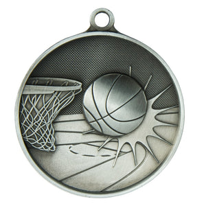 1050-7S Basketball Supreme Quality Medal - 70mm Diameter Featuring a Basketball Hoop & Ball 70mm Diameter, Ribbon & Engraving plate on the back 33m x 55mm included