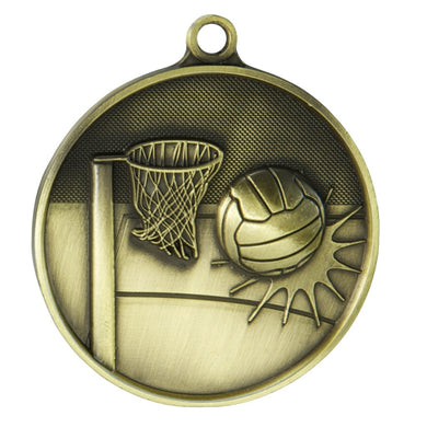 1050-8G Netball Supreme Quality Medal - 70mm Diameter Featuring a Netball Hoop & Ball  70mm Diameter, engraving plate on the back 33m x 55mm included, Ribbon also included, Gold Coast Trophies Burleigh Heads