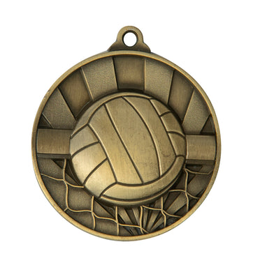 1076-13G Gold Sunrise Volleyball Medal - 50mm engraving and ribbon included - Australia Wides hipping and local pickup - Burleigh Gold Coast