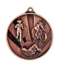 Load image into Gallery viewer, 1076-15BR Sunrise Triathlon Medal - Great Value! Featuring Run, Bike, Swim 50mm Diameter, 25 x 38mm engraving plate of the back, Ribbon included