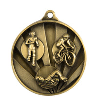 Load image into Gallery viewer, 1076-15G Sunrise Triathlon Medal - Great Value! Featuring Run, Bike, Swim  50mm Diameter, 25 x 38mm engraving plate of the back, Ribbon included