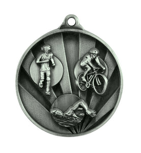 1076-15S Sunrise Triathlon Medal - Great Value! Featuring Run, Bike, Swim 50mm Diameter, 25 x 38mm engraving plate of the back, Ribbon included