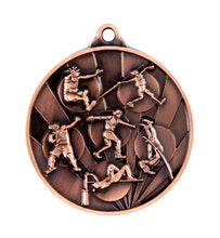 Load image into Gallery viewer, 1076-16BR Sunrise Athletics Field Medal - Great Value! Featuring Shot Put, Discus, High Jump, Long Jump, Pole Vaulting 50mm Diameter, 25 x 38mm engraving plate of the back, Ribbon inlcuded