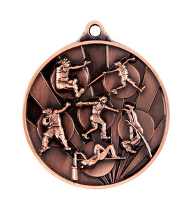 1076-16BR Sunrise Athletics Field Medal - Great Value! Featuring Shot Put, Discus, High Jump, Long Jump, Pole Vaulting 50mm Diameter, 25 x 38mm engraving plate of the back, Ribbon inlcuded