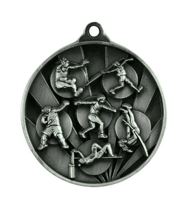 1076-16S Sunrise Athletics Field Medal - Great Value! Featuring Shot Put, Discus, High Jump, Long Jump, Pole Vaulting 50mm Diameter, 25 x 38mm engraving plate of the back, Ribbon inlcuded