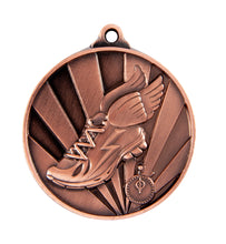 Load image into Gallery viewer, 1076-17BR Sunrise Athletics Medal - Great Value! Featuring Running Shoe with Wings & Timer 50mm Diameter, 25 x 38mm engraving plate of the back, Ribbon included