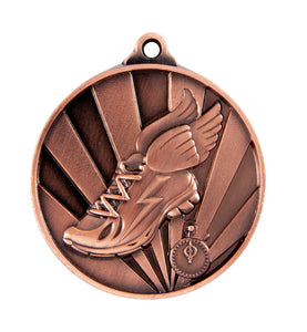 1076-17BR Sunrise Athletics Medal - Great Value! Featuring Running Shoe with Wings & Timer 50mm Diameter, 25 x 38mm engraving plate of the back, Ribbon included