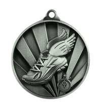 Load image into Gallery viewer, 1076-17S Sunrise Athletics Medal - Great Value! Featuring Running Shoe with Wings & Timer 50mm Diameter, 25 x 38mm engraving plate of the back, Ribbon included