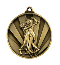 Load image into Gallery viewer, 1076-19 Sunrise Dance Couple Medal - Great Value! Featuring Dancing Couple  50mm Diameter, 25 x 38mm Ribbon & Engraving plate of the back included, Gold Coast Trophies Burleigh