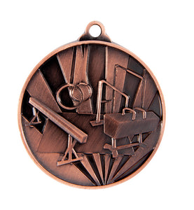 1076-20BR Sunrise Gymnastics Medal - Great Value! Featuring Gymnastics Equipment 50mm Diameter, 25 x 38mm engraving plate of the back included with a Ribbon, Gold Coast Trophies West Burleigh