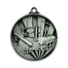 Load image into Gallery viewer, 1076-20S Sunrise Gymnastics Medal - Great Value! Featuring Gymnastics Equipment 50mm Diameter, 25 x 38mm engraving plate of the back included with a Ribbon, Gold Coast Trophies West Burleigh