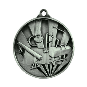 1076-20S Sunrise Gymnastics Medal - Great Value! Featuring Gymnastics Equipment 50mm Diameter, 25 x 38mm engraving plate of the back included with a Ribbon, Gold Coast Trophies West Burleigh