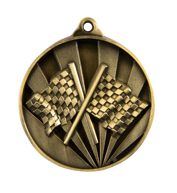 1076-23G Sunrise Chequered Flags Medal - Suitable for all Motorsport - Great Value! Featuring Chequered Flags/ Finishing Flags  50mm Diameter, 25 x 38mm engraving plate of the back included with a Ribbon, Gold Coast Trophies West Burleigh