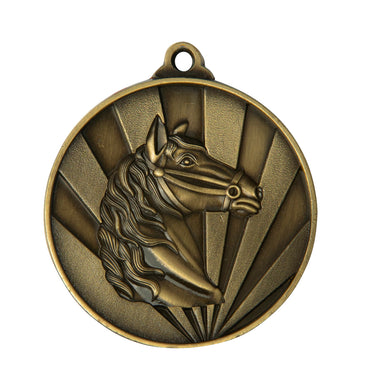 1076-29G Sunrise Horse/Equestrian Medal - Great Value! Featuring Horse Head  50mm Diameter, 25 x 38mm engraving plate of the back included with a Ribbon, Gold Coast Trophies Burleigh Heads