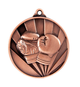1076-32BR Sunrise Boxing Medal - Great Value! Featuring Boxing Gloves 50mm Diameter, 25 x 38mm Ribbon & Engraving plate of the back included, Gold Coast Trophies, Burleigh