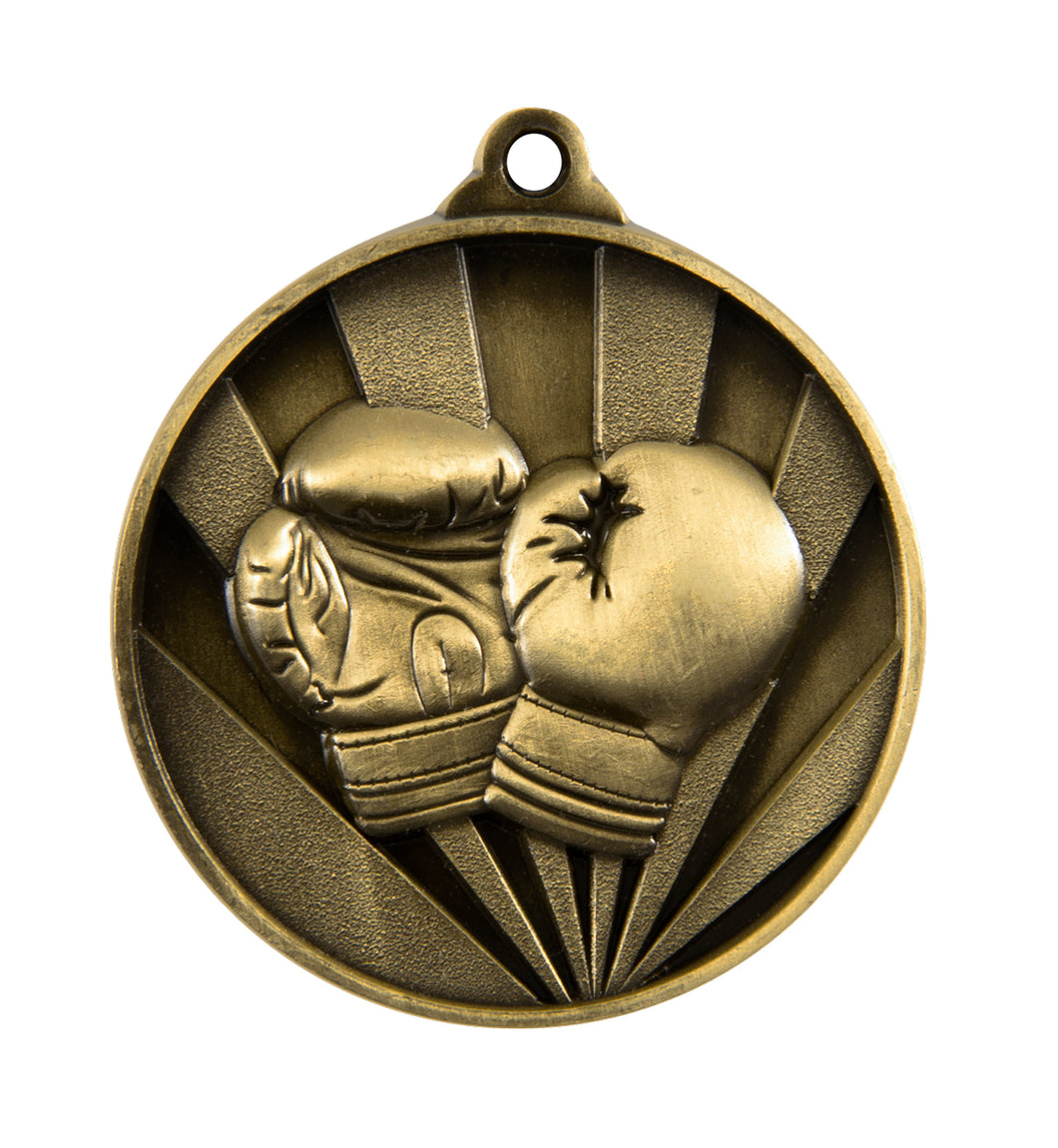 1076-32G Sunrise Boxing Medal - Great Value! Featuring Boxing Gloves  50mm Diameter, 25 x 38mm Ribbon & Engraving plate of the back included, Gold Coast Trophies, Burleigh