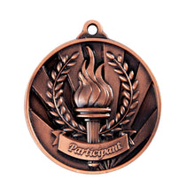 Load image into Gallery viewer, 1076-36BR Bronze Sunrise Participant Medal Great Value! Featuring a Victory Torch with Flame and Wreath 50mm Diameter, 25 x 38mm engraving plate on the back, Ribbon included. Gold Coast Trophies Burleigh