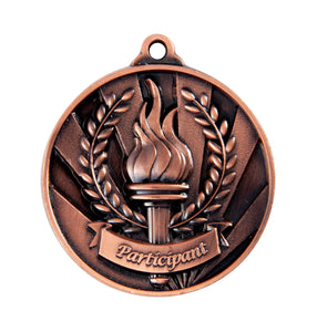 1076-36BR Bronze Sunrise Participant Medal Great Value! Featuring a Victory Torch with Flame and Wreath 50mm Diameter, 25 x 38mm engraving plate on the back, Ribbon included. Gold Coast Trophies Burleigh