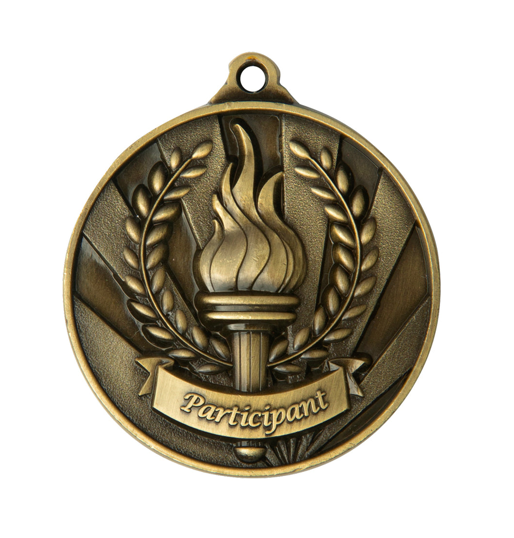 1076-36G Gold Sunrise Participant Medal Great Value! Featuring a Victory Torch with Flame and Wreath  50mm Diameter, 25 x 38mm engraving plate on the back, Ribbon included. Gold Coast Trophies Burleigh