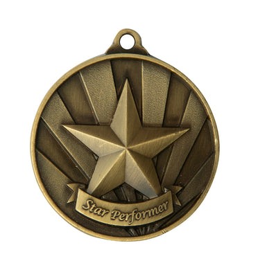 1076-37G Gold Sunrise Star Performer Medal Great Value! Featuring a Star  50mm Diameter, 25 x 38mm engraving plate on the back, Ribbon included. Gold Coast Trophies Burleigh Heads