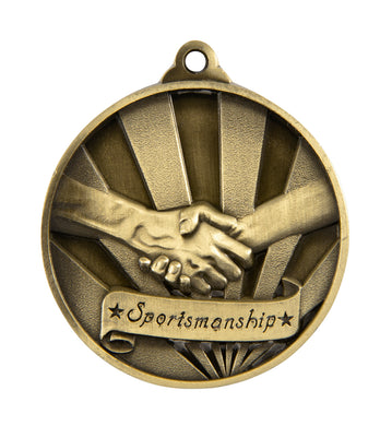 1076-38G Gold Sunrise Sportsmanship Medal Great Value! Featuring a Handshake  50mm Diameter, 25 x 38mm engraving plate on the back included. Gold Coast Trophies Burleigh