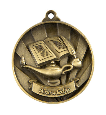 1076-39G Gold Sunrise Lamp of Knowledge/Academic Medal - Great Value! Featuring Book, Ink Pen & Magic Lantern  50mm Diameter, 25 x 38mm engraving plate on the back, Ribbon included Gold Coast Trophies West Burleigh