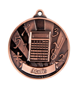 1076-40BR Bronze Sunrise Maths Medal - Great Value! Featuring Calculator & Numbers 50mm Diameter, 25 x 38mm engraving plate on the back, Ribbon inlcuded. Gold Coast Trophies near Varsity Lakes