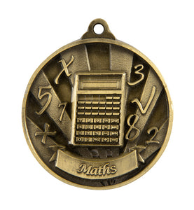 1076-40G Gold Sunrise Maths Medal - Great Value! Featuring Calculator & Numbers  50mm Diameter, 25 x 38mm engraving plate on the back, Ribbon inlcuded.  Gold Coast Trophies near Varsity Lakes