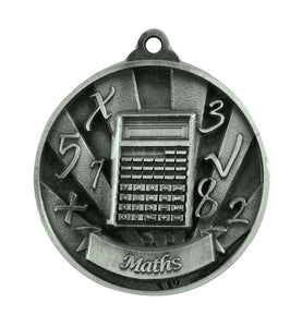 1076-40S Silver  Sunrise Maths Medal - Great Value! Featuring Calculator & Numbers 50mm Diameter, 25 x 38mm engraving plate on the back, Ribbon inlcuded. Gold Coast Trophies near Varsity Lakes