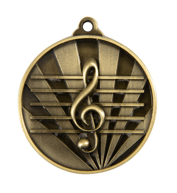 1076-44G Gold Sunrise Music Medal - Great Value! Featuring a Treble Clef   50mm Diameter, 25 x 38mm engraving plate on the back, Ribbon included. Gold Coast Trophies West Burleigh