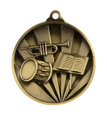 1076-45G Gold Sunrise Band Medal Great Value! Featuring a Drum, Trumpet & Music Book   50mm Diameter, 25 x 38mm engraving plate on the back, Ribbon included. Gold Coast Trophies Burleigh Heads