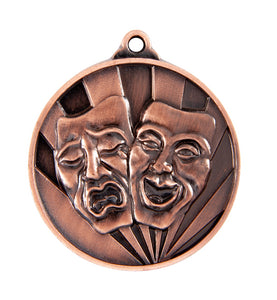 1076-47BR Bronze Sunrise Drama Medal Great Value! Featuring Drama Masks 50mm Diameter, 25 x 38mm engraving plate on the back, Ribbon included. Gold Coast Trophies Burleigh