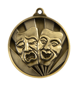 1076-47G Gold Sunrise Drama Medal Great Value! Featuring Drama Masks  50mm Diameter, 25 x 38mm engraving plate on the back, Ribbon included. Gold Coast Trophies Burleigh